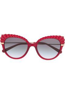 Dolce & Gabbana Eyewear Armação De Óculos Gatinho Com Detalhe De Cristais - Vermelho