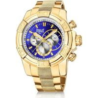 edfed4f87c7 Relógio Pulso Everlast Cronógrafo Pulseira Aço E64 - Masculino-Dourado+Azul