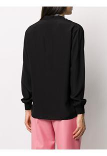 Givenchy Blusa Com Amarração Na Gola E Estampa De Logo - Preto