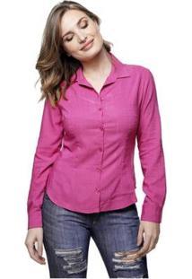 Camisa Lisa Sob Colors Viscose Texturada Feminina - Feminino-Rosa
