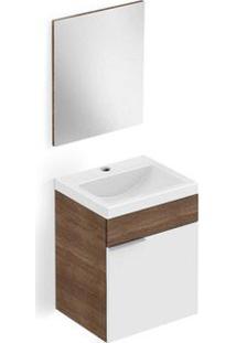Gabinete De Banheiro Com Lavatório E Espelheira Avant 41X34Cm Branco E Wengue Celite