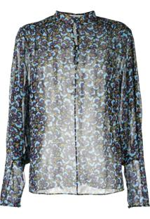 Mary Katrantzou Blusa Translúcida Estampada De Seda - Azul
