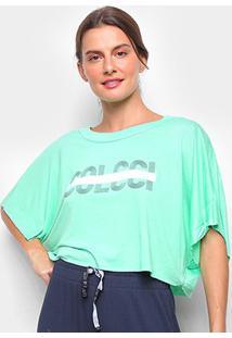 Camiseta Colcci Cropped Logo Linha Feminina - Feminino-Verde Escuro