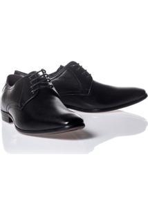 Sapato Rafarillo Couro Com Cadarço Masculino - Masculino-Preto
