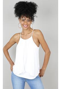 Regata Feminina Com Entremeio E Sobreposição Off White