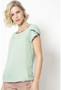 Blusa Com Viã©S- Verde Claro & Preta- Milioremiliore