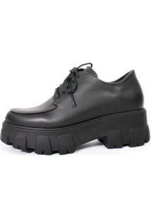 Bota Damannu Shoes Oxford Oprah Napa Feminina - Feminino-Preto
