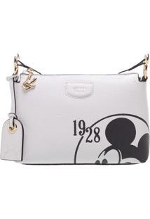 Bolsa Transversal Texturizada Mickey Mouseâ®- Branca & Prarezzo & Co.