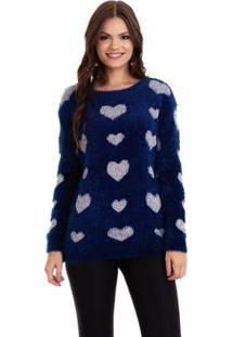 Suéter Kinara Pelinho Coração Feminino - Feminino-Azul