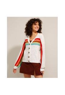 Cardigan Amplo De Tricô Com Listras Coloridas Decote V Off White