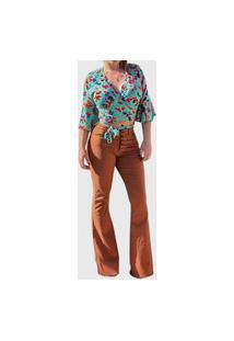 Calça Jeans Feminina Dardak Jeans Colors Flare Botões Marrom