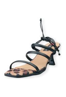 Sandalia Salto Taça Love Shoes 3 Tiras Amarraçáo Onça Preto