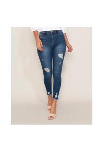 Calça Jeans Feminina Sawary Cigarrete Push Up Super Lipo Cintura Alta Destroyed Azul Escuro