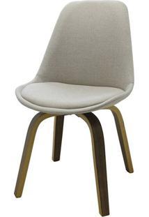 Cadeira Lis Eames Revestida Tecido Bege Base Madeira Mescla - 51148 Sun House