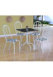 Conjunto De Mesa Malaga Com 4 Cadeiras Alicante Branco E Branco Floral
