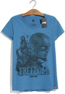 Camiseta Marvel Guerra Civil Freedom Feminina - Feminino-Azul