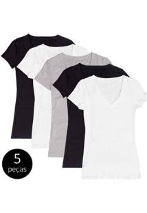 Kit Com 5 Blusas Part.B Decote V Colors - Feminino-Branco+Preto