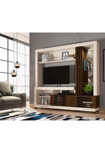 Estante Para Home Theater E Tv Até 50 Polegadas Frizz Off White E Savana