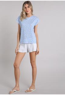 Pijama Feminino Estampado Unicórnio Manga Curta Azul Claro