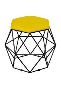 Puff Decorativo Aramado Preto Six Suede Amarelo - Lyam Decor