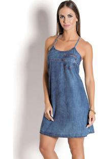 Vestido Sawary Jeans Com Alças E Bolso Frontal
