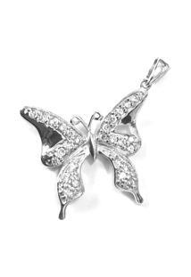 Pingente Borboleta De Prata C/ Zircônia - Feminino-Prata