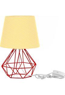 Abajur Diamante Dome Amarelo/Bolinha Com Aramado Vermelho - Amarelo - Dafiti