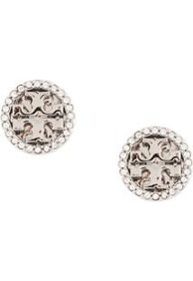 Tory Burch Crystal Logo Circle-Stud Earrings - Prateado
