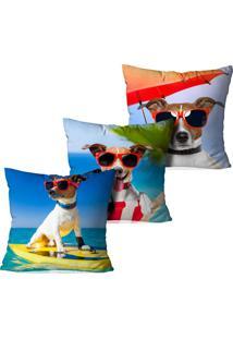 Kit 3 Capas Para Almofadas Decorativas Curtindo O Verão