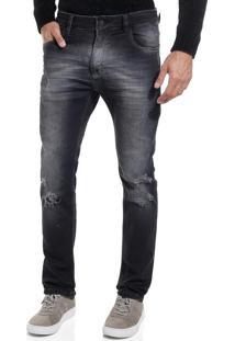 Calça John John Skinny Belize 3D Jeans Preto Masculina (Jeans Black Medio, 46)