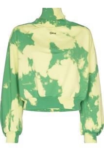 Off-White Suéter Gola Alta Com Estampa De Nuvem - Verde