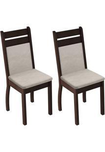 Kit 2 Cadeiras Tabaco/Suéde Pérola - Madesa