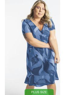 Vestido Manga Curta Estampado Azul