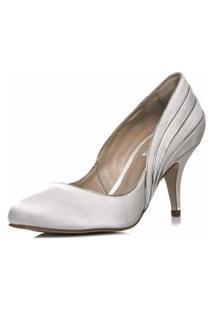 Sapato Noiva Cetim Salto Médio - Ri5725 Off White