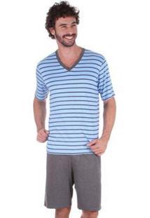 Pijama Masculino Curto Listrado Inspirate - Masculino-Branco+Marinho