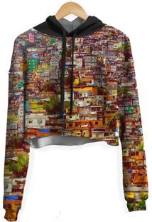 Blusa Cropped Moletom Feminina Over Fame Favela Md01 - Bege - Feminino - Poliã©Ster - Dafiti