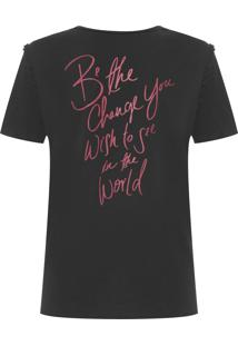 Camiseta Feminina Botonê Fita - Preto