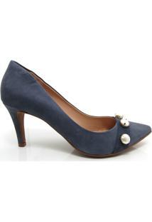 Sapato Scarpin Salto Fino Santa Flor Couro - Feminino-Marinho