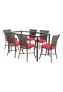 Jogo De Jantar 6 Cadeiras Turquia Pedra Ferro A16 E 1 Mesa Retangular Sem Tampo Ideal Para Área Externa Coberta