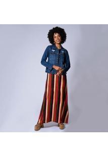 Jaqueta Jeans Destroyed Feminina - Feminino-Azul