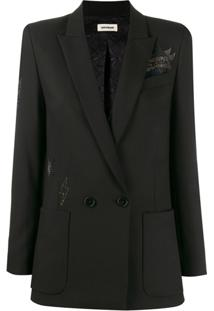 Zadig&Voltaire Embellished Double-Breasted Blazer - Preto