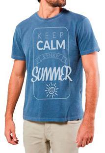 Camiseta Masculina Sandro Clothing Keep Calm Enjoy Azul Estonada
