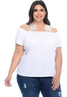 Blusa Plus Size Manifesto Jeans Branca Ombro A Ombro Lucy