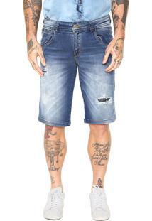 Bermuda Jeans Zune Reta Desgastes Azul