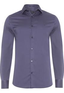Camisa Masculina Lisa Cetim - Azul