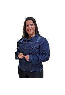 Jaqueta Jeans Plus Size Azul Escura