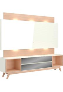 Rack Com Painel 58 Polegadas Com Led Rembrandt Ii Off White E Natural 220 Cm
