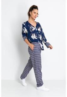 Pijama Longo Viscose De Botões Acuo Feminino - Feminino-Azul