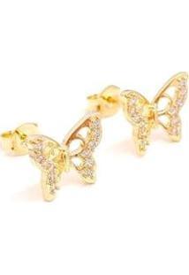 Brinco Borboleta Semijoia Cravejada Banho Em Ouro 18K - Feminino-Dourado