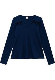 Blusa Recortes Vazados Malwee Azul Escuro - P